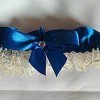 Подвязка на ножку айвори +синий