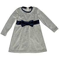 Платье велюровое для девочки с бантом