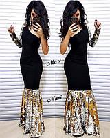 Платье-рыбка с паеткой золото-серебряное и серебро-чёрное