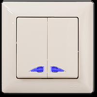 Выключатель двухклавишный с подсветкой кремовый Gunsan Visage