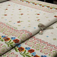 Скатертная ткань Рогожка маленькие маки с васильками