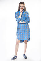 Платье рубашка фланель голубая
