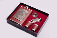 Набор подарочный: фляга 270 мл, 2 рюмки, лейка, зажигалка