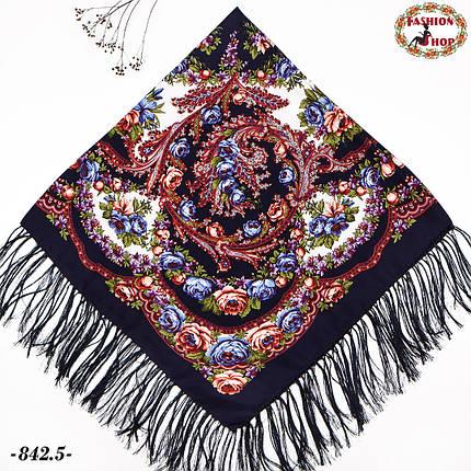 Тёмно-синий павлопосадский платок Осенний круговорот, фото 2