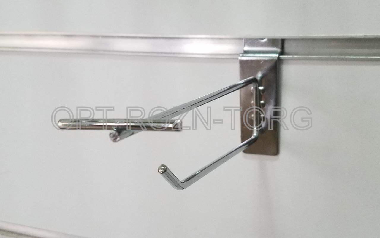 Крючок одинарный с ценникодержателем хром. в экопанель 10 см, толщ. 4 мм.