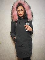 Очень тёплая и женственная куртка-парка с нежным и ярким мехом.