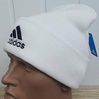 """Вязаная шапка """"Adidas"""" - лотос с черной вышивкой"""