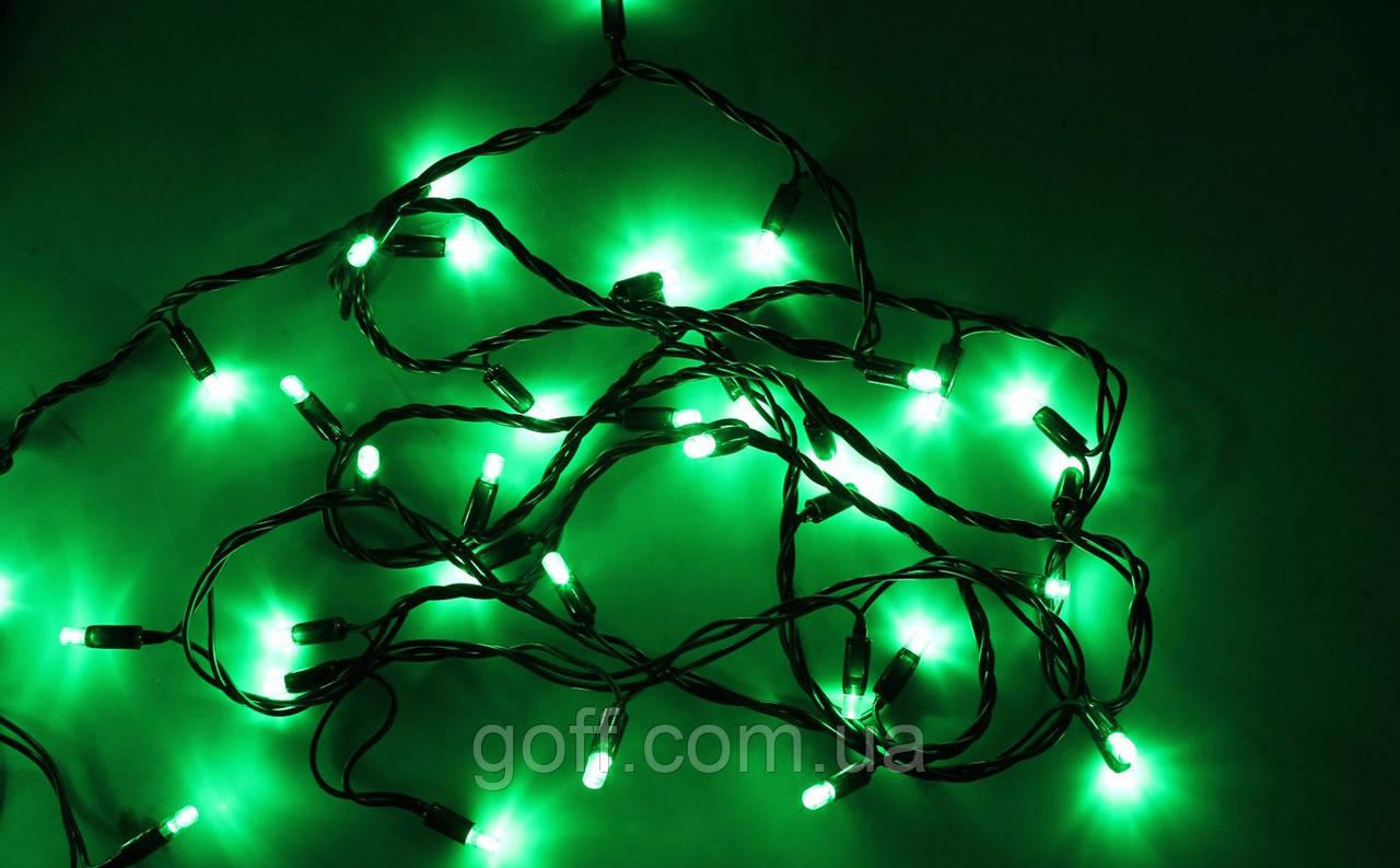 Новогодняя гирлянда уличная 10 м, 100 led, зеленый цвет