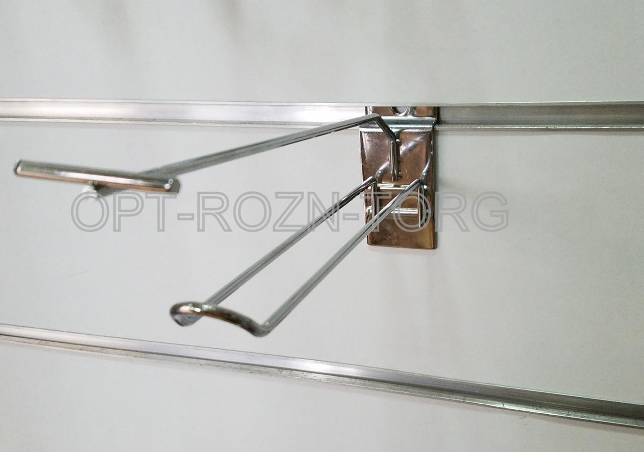 Крючок двойной с ценникодержателем хром. в экопанель 20 см, толщ. 4 мм.