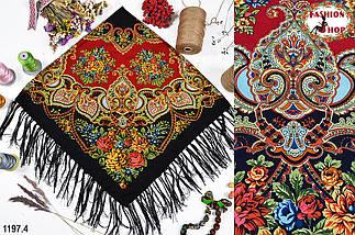Чёрный павлопосадский шерстяной платок Голубка, фото 3
