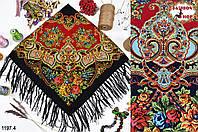 Чёрный павлопосадский шерстяной платок Голубка