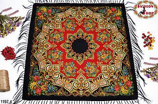 Чёрный павлопосадский шерстяной платок Голубка, фото 2