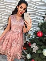 Шикарное платье из кружева нежного цвета, фото 1