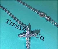 Крестик Тиффани, серебро 925, с цепочкой