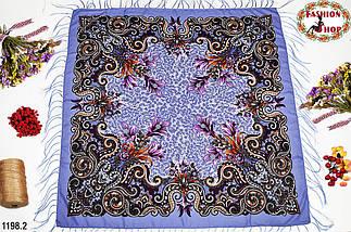 Сиреневый павлопосадский шерстяной платок Лилия, фото 3