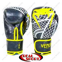 Боксерские перчатки кожаные Venum Snaker VL-5794 (р-р 10-12oz, черн-желт)