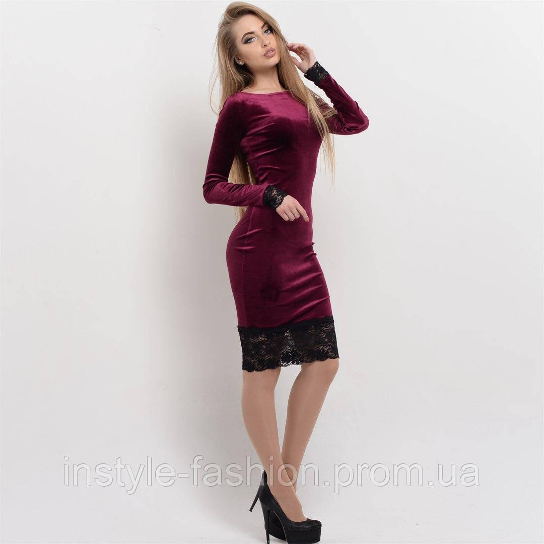 Красивое женское платье ткань велюр+французское кружево цвет бордовый, ... 9e426e3ed27