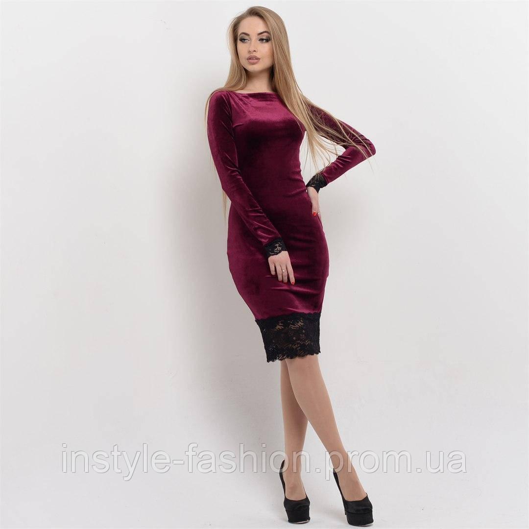 Красивое женское платье ткань велюр+французское кружево цвет бордовый -  Сумки брендовые, кошельки, 1e507fc3857