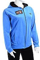 Велюровый спортивный костюм однотонный верх К100 Голубой, XL