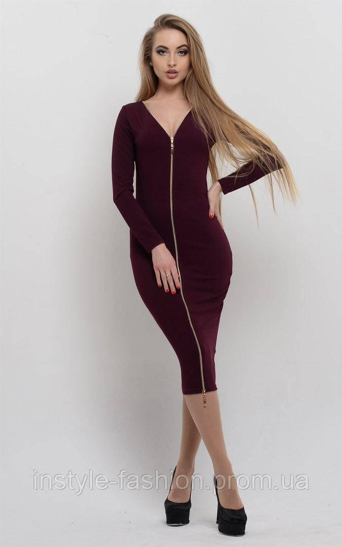 Красивое женское платье на молнии ткань креп-дайвинг бордовое