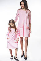 Платье детское кукуруза розовое с карманами