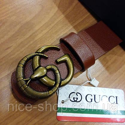 """Ремень Gucci кожаный коричневый с пряжкой-""""змеей"""", фото 2"""