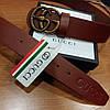"""Ремень Gucci кожаный коричневый с пряжкой-""""змеей"""", фото 3"""
