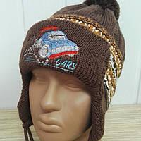 Детская шапка «Машинка» с помпоном, на флисе, в полоску, р48-50