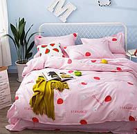Постельное белье Клубника саржа 100% хлопок комплект полуторный кровать 1.2-1.5м