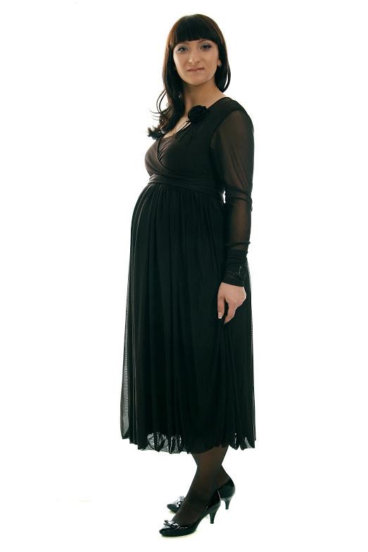 Платье из гипюра для беременных и кормящих мам ДЕЛОВАЯ МАМА (коричневое, размер S)