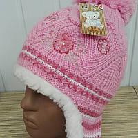 Детская шапка с помпоном, на овчинке,  р44-48