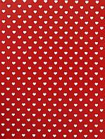 Подарочная бумага (упаковочная)  красного цвета в белые сердечки