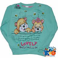 Весенний детский батник, тонкий трикотаж(100%cotton),рисунок накатка, для девочки ростом 86-104 см (4 ед в уп)