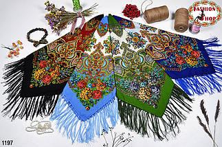 Голубой павлопосадский шерстяной платок Голубка, фото 2
