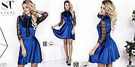 Красивое женское платье с кружевом ткань бархат муар цвет синий, фото 1