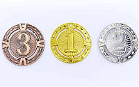 Медаль спортивная без ленты RAY d-6,5см C-6409 1-золото, 2-серебро, 3-бронза (металл, d-6,5см, 38g)