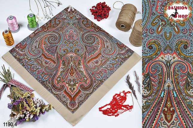 Бежевый павлопосадский платок без бахромы Золушка, фото 2