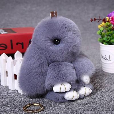 Брелок Кролик или Зайка 20 см, натуральный мех