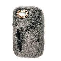 Меховой чехол для iPhone 7/7s (серый) LOVE KAN № 7708