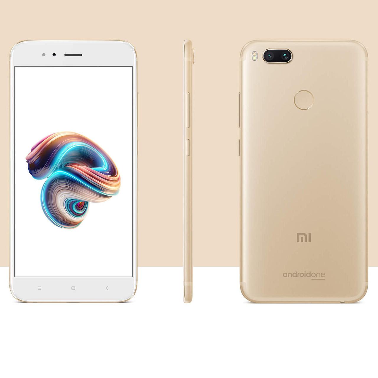 "Смартфон Xiaomi Mi A1 Gold, 4/64Gb, 12+13/5Мп, 8 ядер, 2sim, 5.5"" IPS, 3080mAh, GPS, 4G"