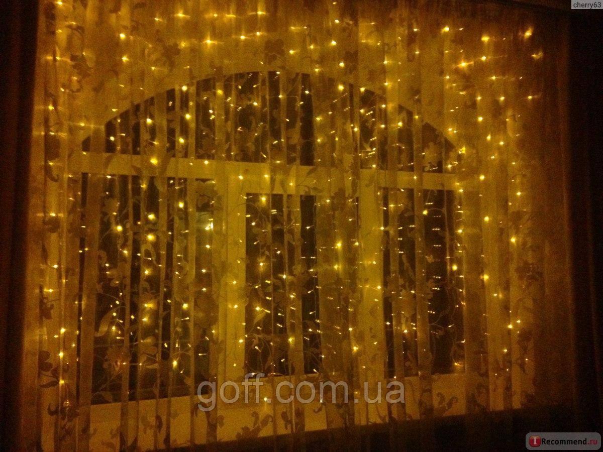 Гирлянда штора 3х2 м, 320 led, золотой цвет