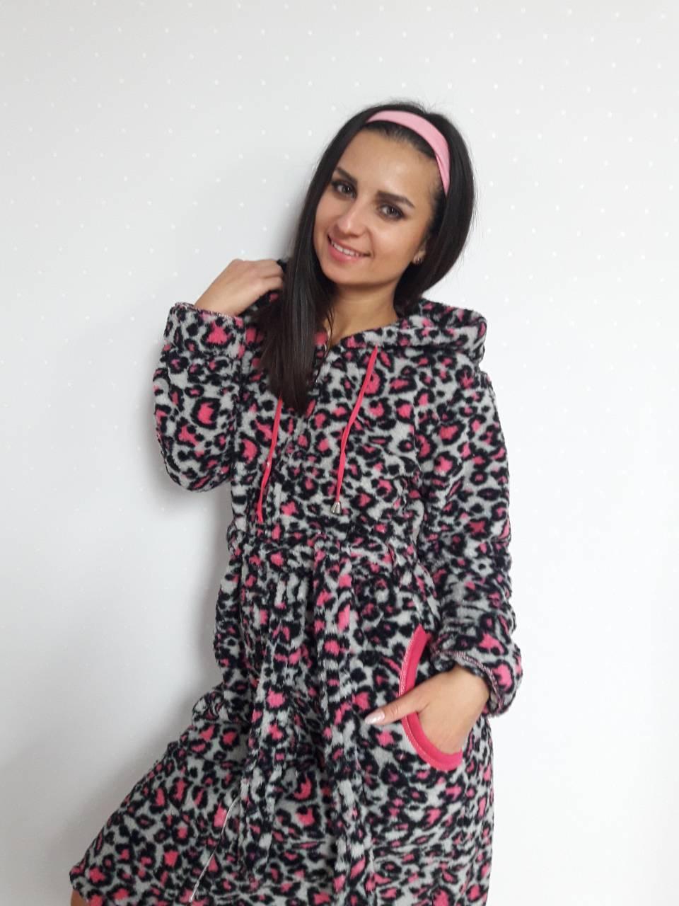 Женский махровый халат на замке (S, L, XL) розовый леопард