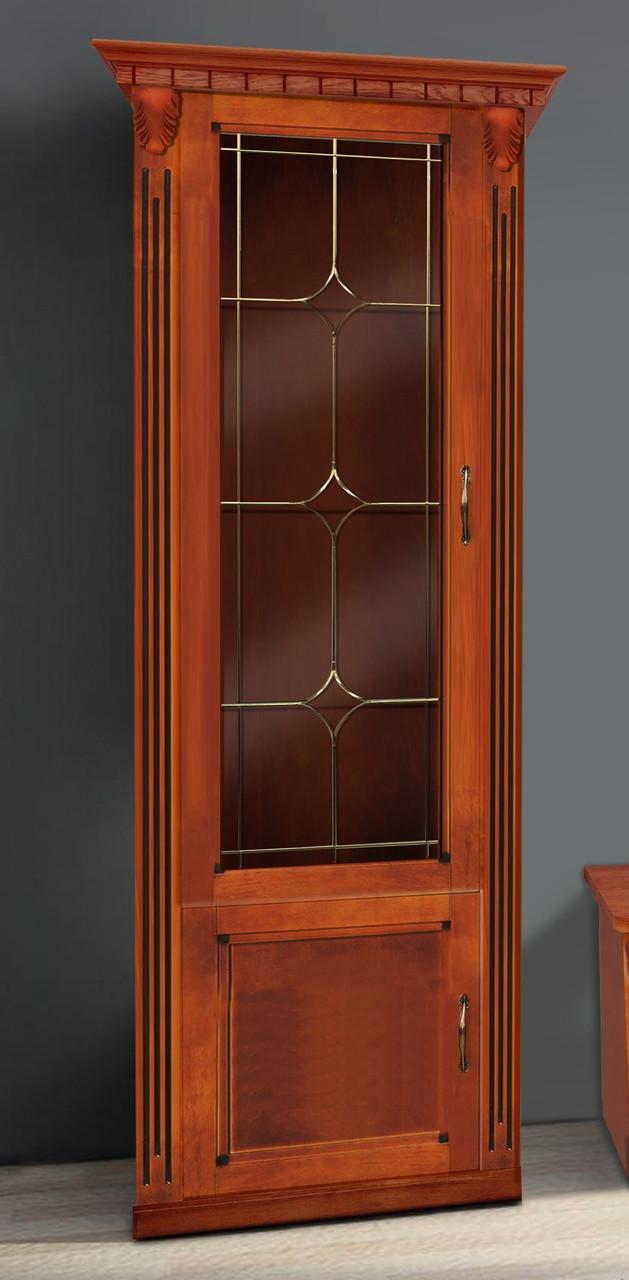 Пенал для гостиной в классическом стиле  Freedom с витражем (Фридом) Микс мебель, массив дуба орех