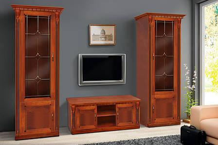 Пенал для гостиной в классическом стиле  Freedom с витражем (Фридом) Микс мебель, массив дуба орех, фото 2