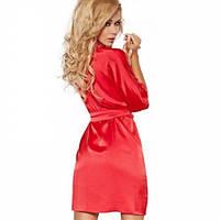 Домашний комплект атласный: халат и пеньюар размер XXL (48-50) шелк, красный