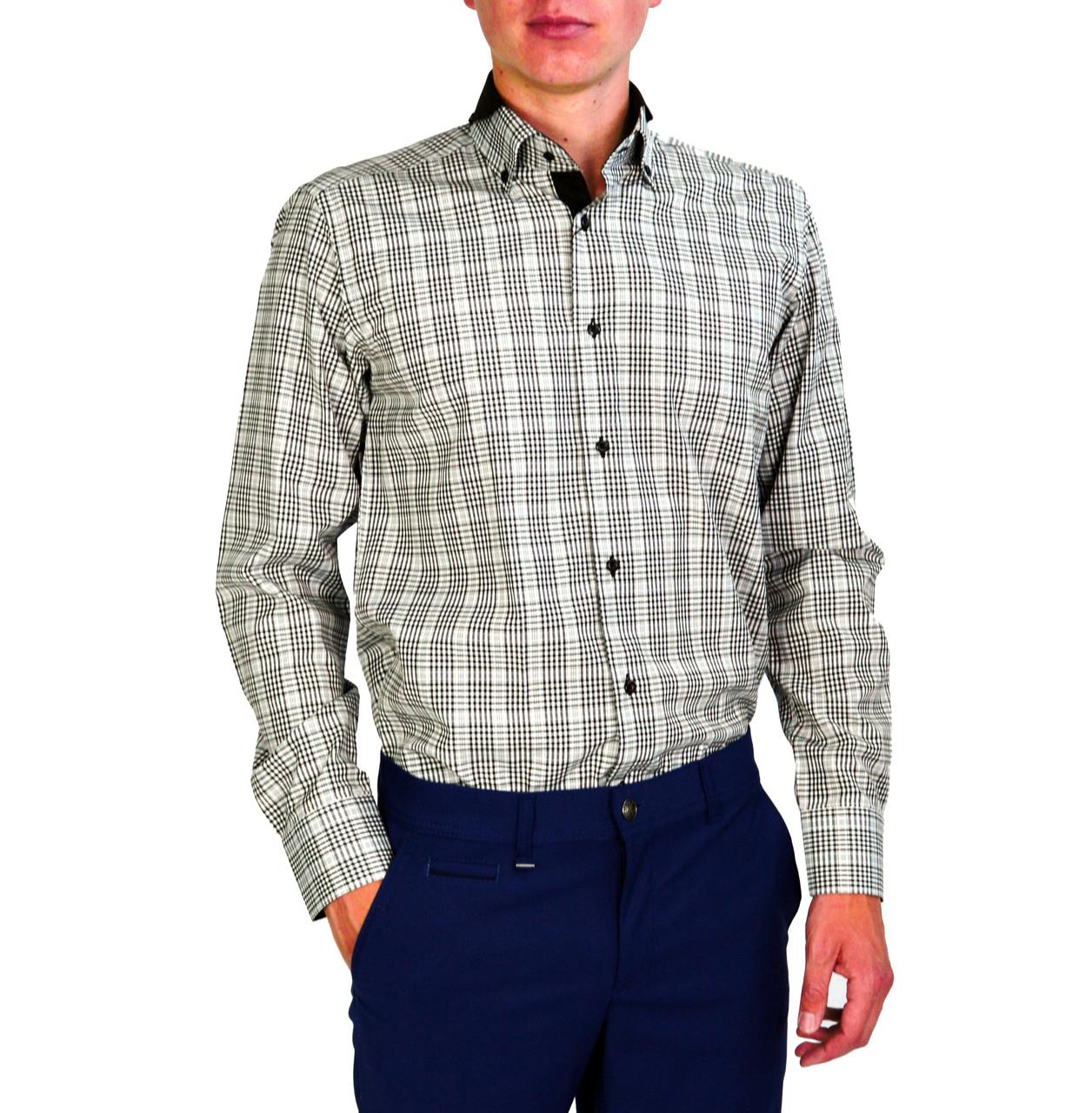 Мужская рубашка классическая PALMEN в черно-белую клетку