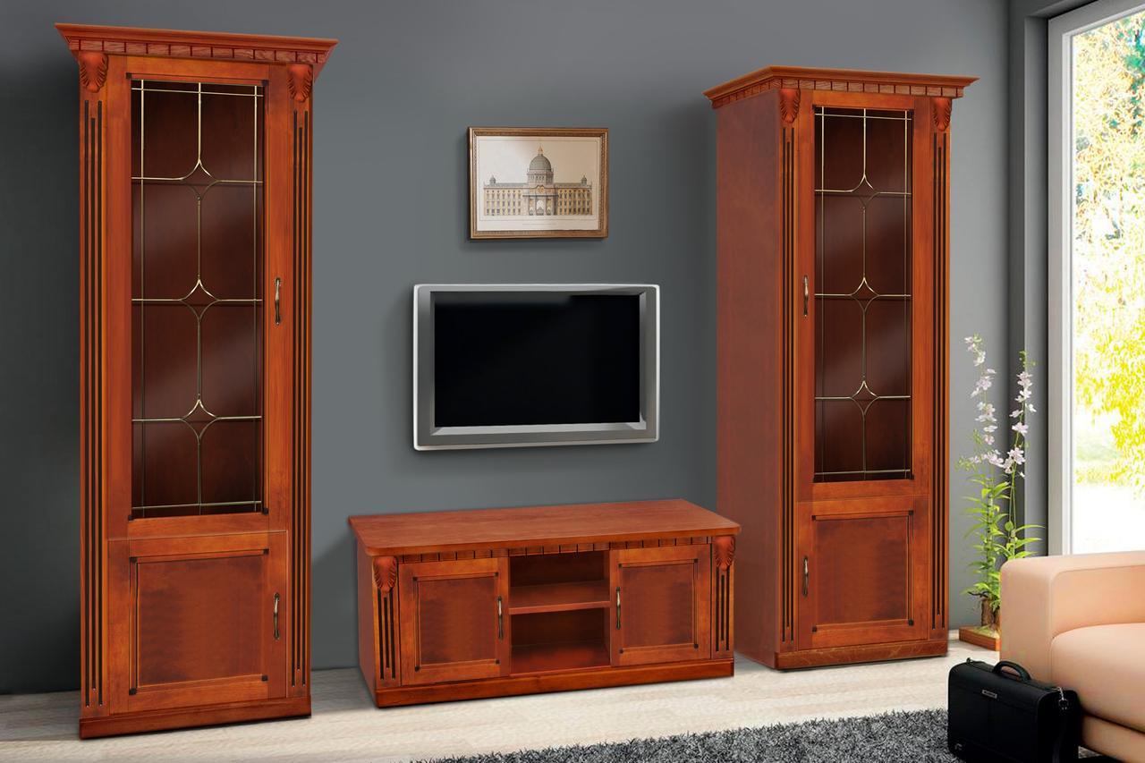 Гостиная  в классическом стиле с витражами Freedom (Фридом) Микс мебель, цвет  орех + патина золото