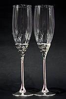 Бокалы для шампанского на металлической ножке Ажур 240мл 2шт., фото 1