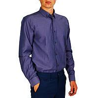 Фиолетовая мужская рубашка классическая PALMEN в мелкую точку, фото 1