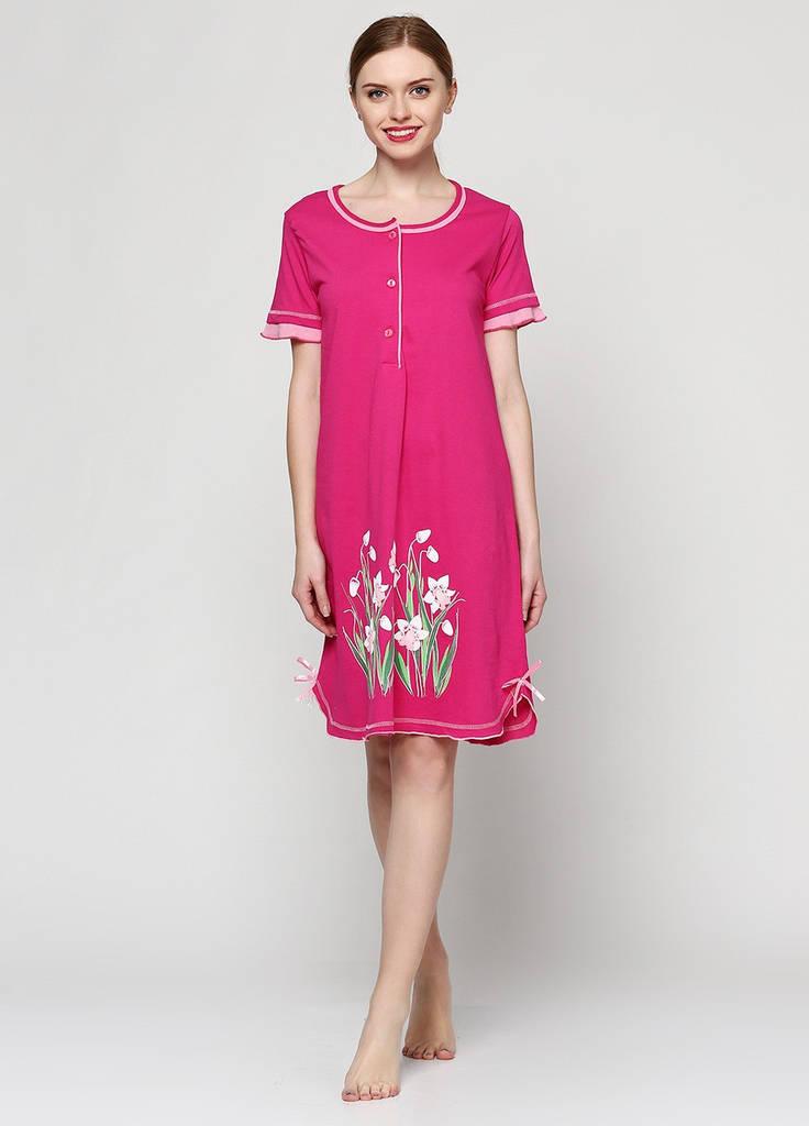 Женская ночная сорочка с коротким рукавом на пуговицах